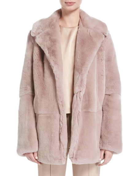 A.L.C. Stone Notched-Collar Long-Sleeve Rabbit Fur Coat and