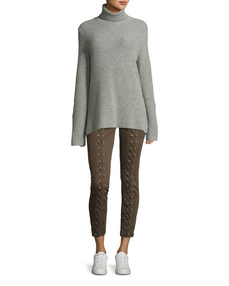 Alexander Lace-Back Turtleneck Wool Cashmere Sweater
