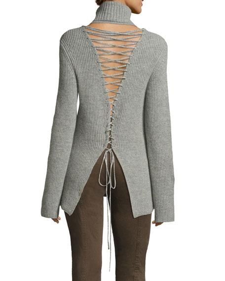 Alexander Lace-Back Turtleneck Wool Cashmere Sweater