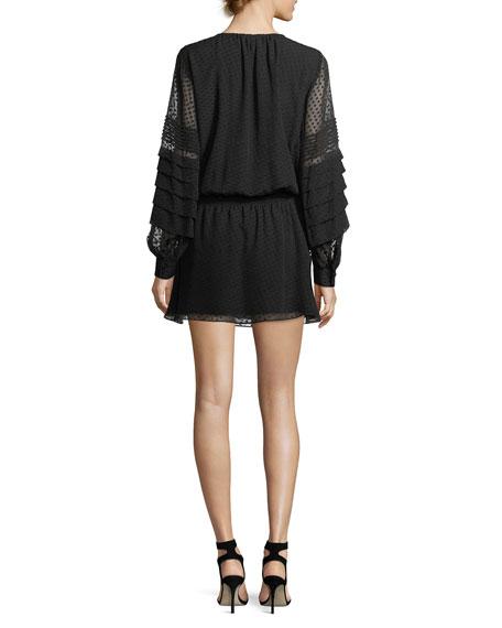 Ella Long-Sleeve Dotted Chiffon Mini Dress