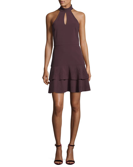 Luana Halter-Neck Sleeveless Mini Dress