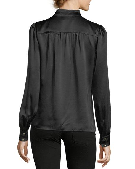 Kinsley Tie-Neck Long-Sleeve Silk Blouse