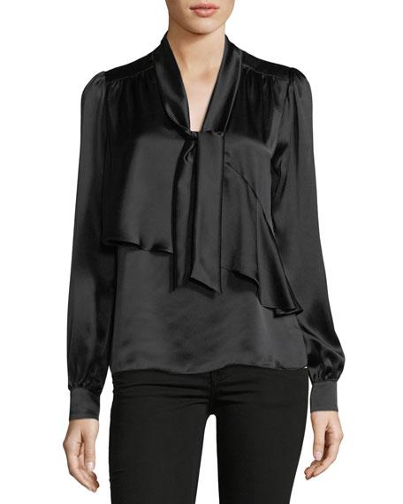 Parker Kinsley Tie-Neck Long-Sleeve Silk Blouse