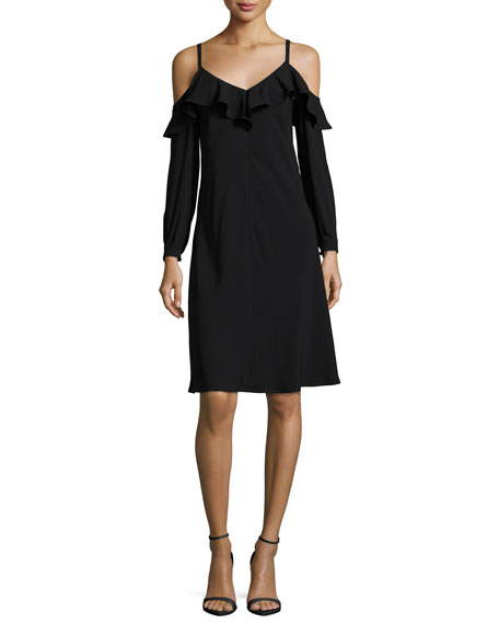Felicia Cold-Shoulder Ruffled Crepe Dress