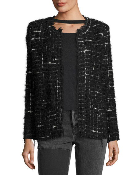 Iro Espo Long-Sleeve Open-Front Boucle Jacket