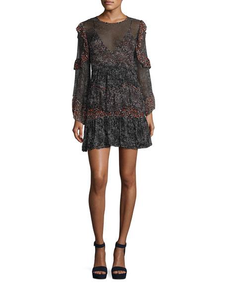 Iro Trillie Tiered Printed Chiffon Mini Dress