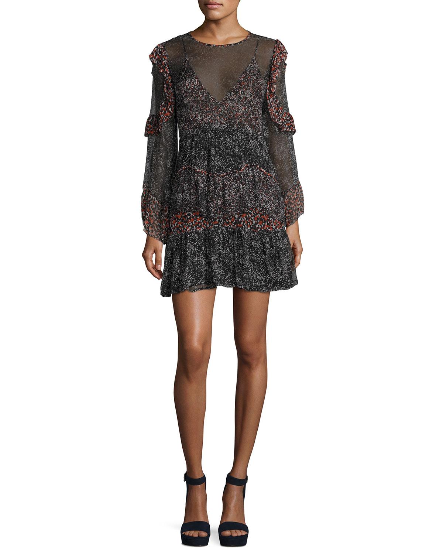 90bb226b901b6 Iro Trillie Tiered Printed Chiffon Mini Dress | Neiman Marcus