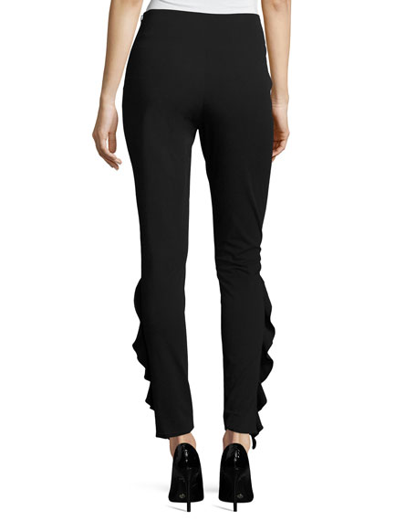 Fholan Slim-Fit Ponte Pants w/ Ruffled Trim