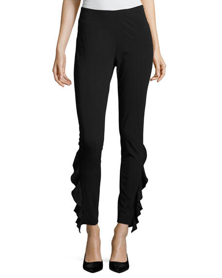 Iro Fholan Slim-Fit Ponte Pants w/ Ruffled Trim