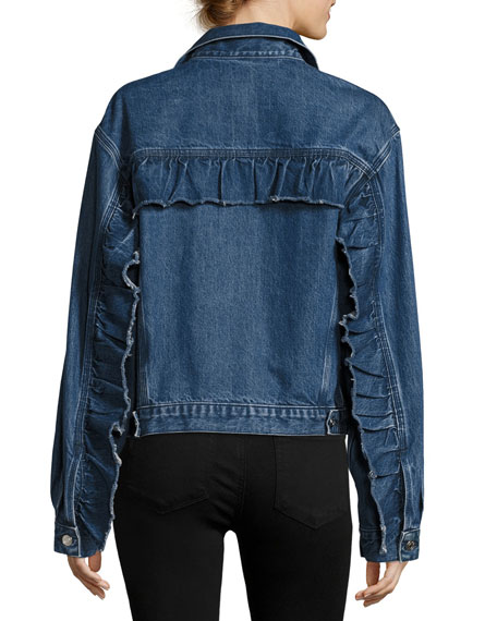 Iro Donna Button-Front Denim Jacket w/ Ruffled Trim