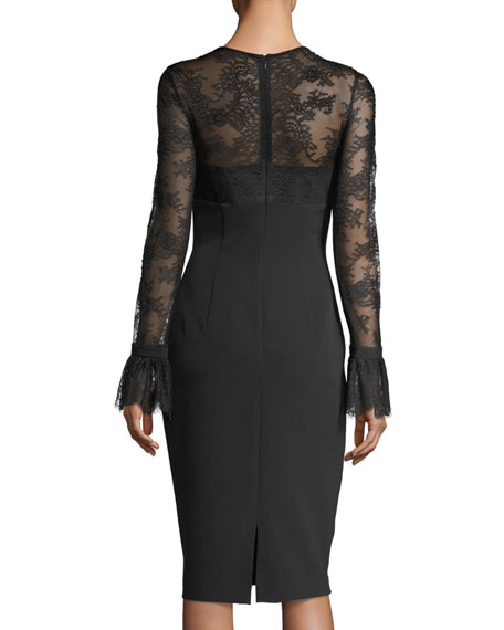Trumpet-Sleeve Tattoo Lace Sheath Cocktail Dress