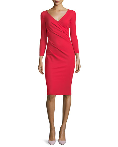 Luiza Surplice Long-Sleeve Cocktail Dress