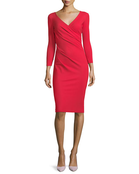 Luiza Surplice Long-Sleeve Cocktail Dress