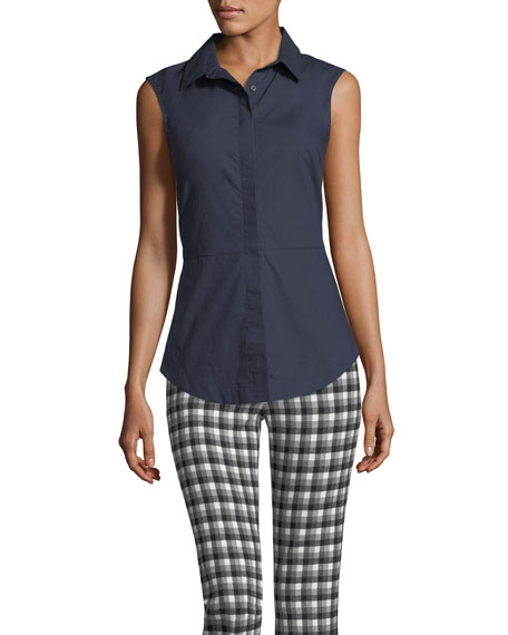 Derek Lam 10 Crosby Cropped Flare Gingham Trousers