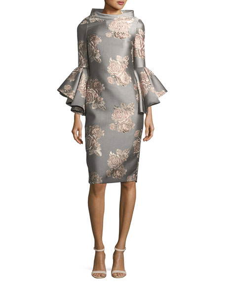 Badgley Mischka Funnel-Neck Flutter-Sleeve Floral-Jacquard