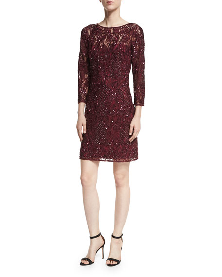 Aidan Mattox 3/4-Sleeve Beaded Lace Cocktail Dress