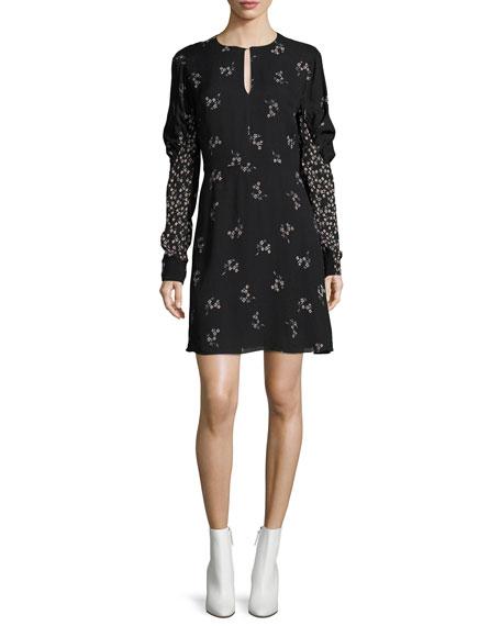 Lila Floral-Print A-line Mini Dress