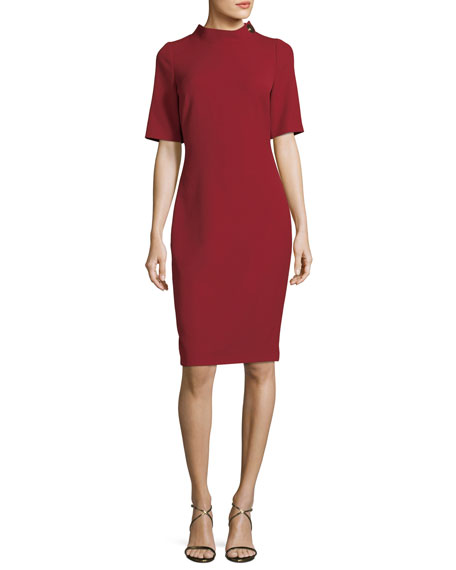 Badgley Mischka Turn-Lock Elbow-Sleeve Sheath Dress