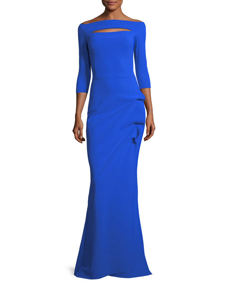 CHIARA BONI LA PETITE ROBE Kate Long-Sleeve Gathered Trumpet Evening Gown in Colbalt