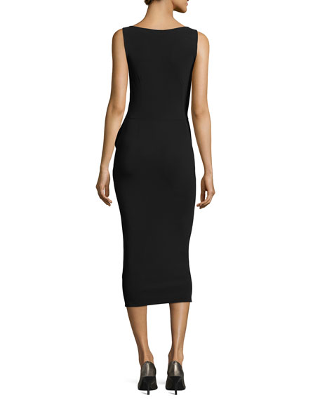 Branka Boat-Neck Sleeveless Midi Cocktail Dress w/ Zipper Detail