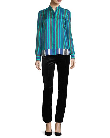 Long-Sleeve Striped Cuffed Button-Down Satin Shirt
