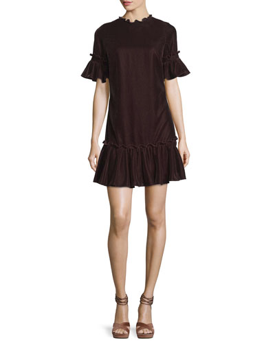 Annadale Short Bell-Sleeve Velvet Dress