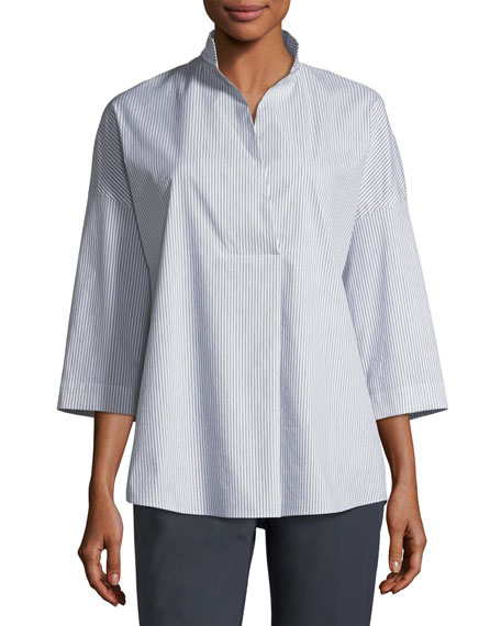 Lafayette 148 New York Dakota Mélange Striped Blouse
