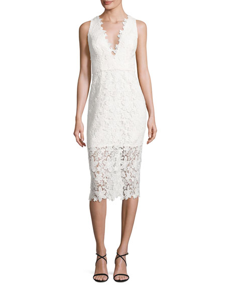 Jill Jill Stuart Sleeveless V-Neck Lace Sheath Dress,