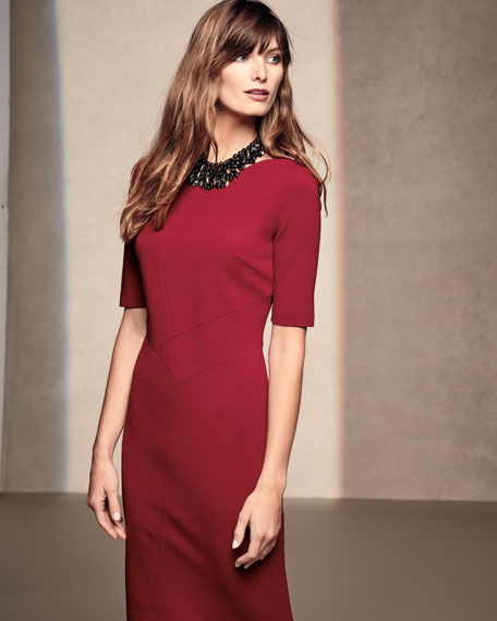 Asymmetric-Seamed Punto Milano Sheath Dress