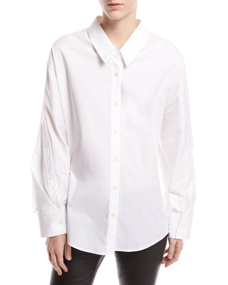 Mom Button-Front Long-Sleeve Poplin Shirt