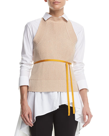 split-back halter sleeveless cotton sweater