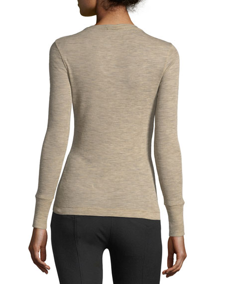 Deep V Sheer Wooly Rib-Knit Sweater