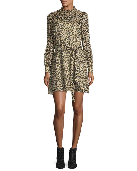 long-sleeve leopard-print clipped dot minidress