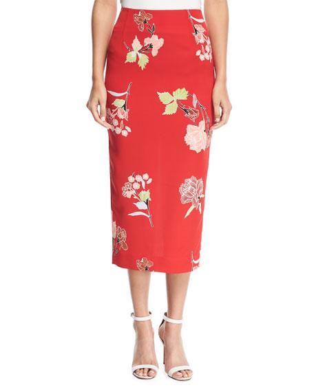 Diane von Furstenberg Leopard-Print Tailored Midi Pencil Silk-Blend Skirt