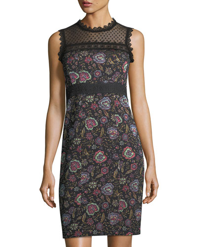 Adela Floral-Jacquard Sleeveless Sheath Dress w/ Lace Inset