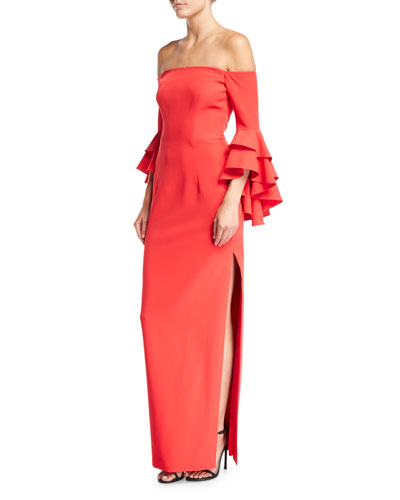 Selena Off-the-Shoulder Double-Ruffled Sleeve Evening Gown