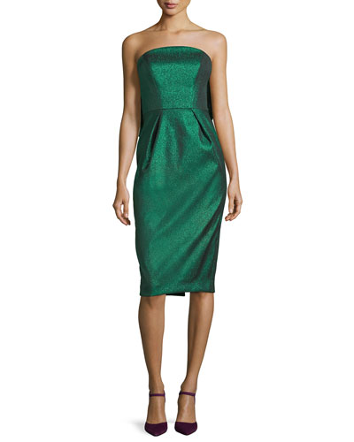 Maddie Strapless Stretch-Lurex Cocktail Dress w/ Bow
