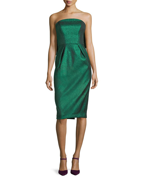 Milly Maddie Strapless Stretch-Lurex Cocktail Dress w/ Bow