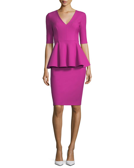 Milly Lola Half-Sleeve Tech-Stretch Peplum Cocktail Dress