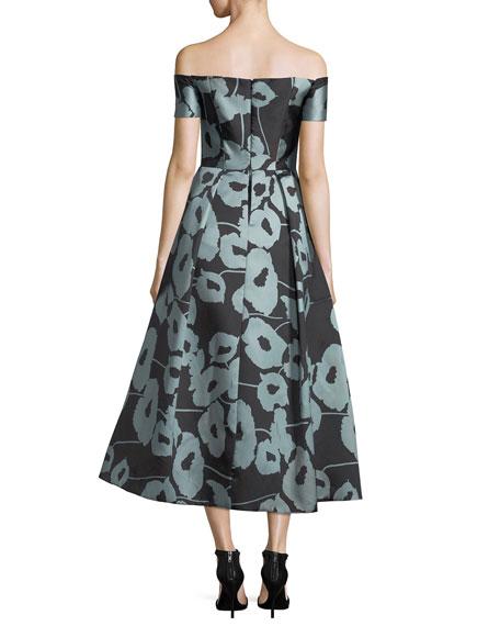 Julia Off-the-Shoulder Poppy Floral-Print Cocktail Dress