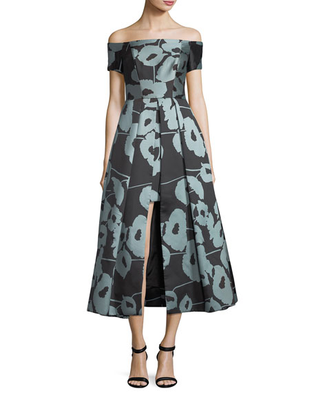 Milly Julia Off-the-Shoulder Poppy Floral-Print Cocktail Dress