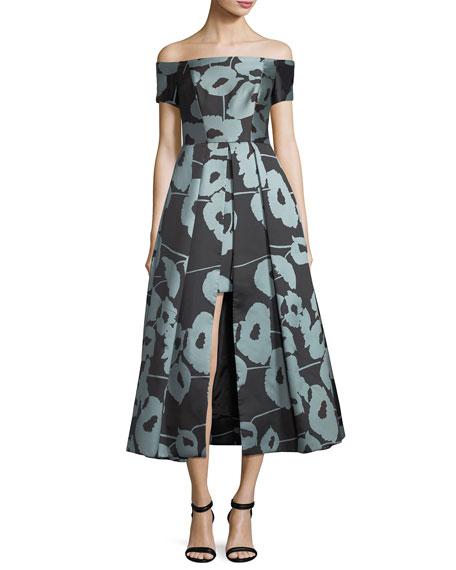 Milly Julia Off-the-Shoulder Poppy Floral-Print Cocktail Dress