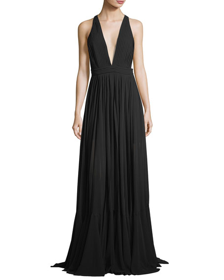 Milly Fiona Plunging V-Neck Pleated Chiffon Dress