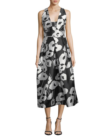 Milly Paris Poppy Floral-Print Twill Evening Dress