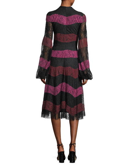 Venad Mock-Neck Striped Lace Cocktail Dress
