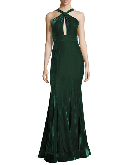 Jovani Velvet Halter Mermaid Gown