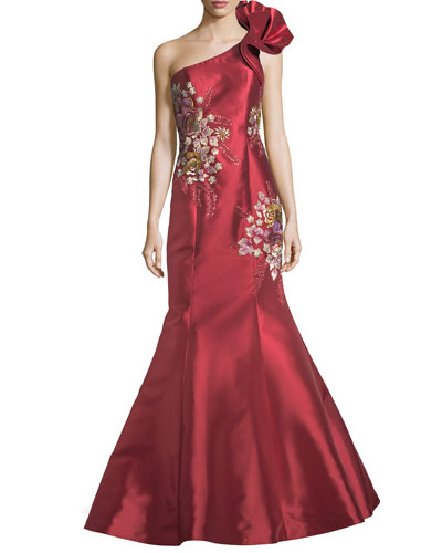 Jovani dresses gowns at neiman marcus floral embroidered one shoulder evening gown junglespirit Choice Image
