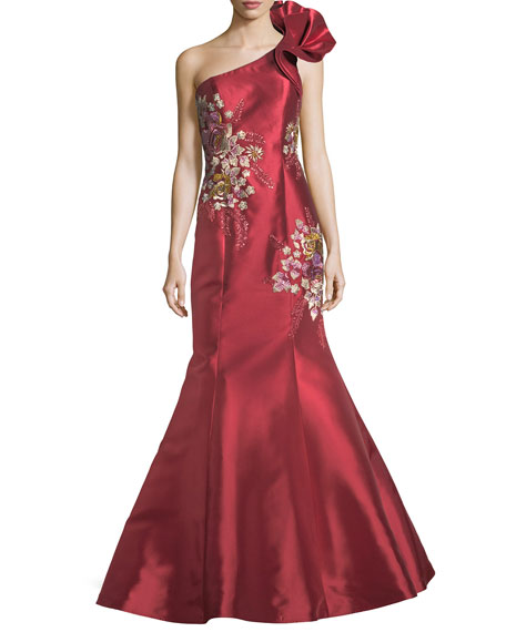 Floral-Embroidered One-Shoulder Evening Gown