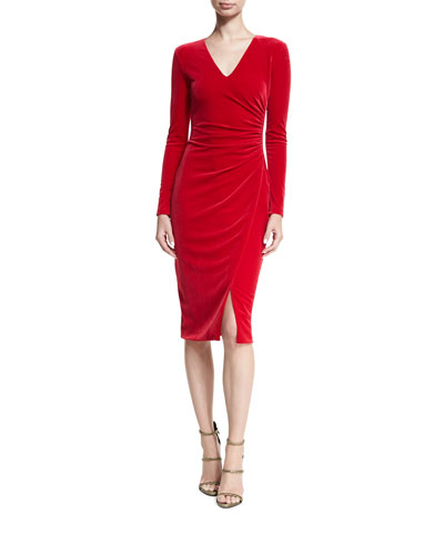Miramar Long-Sleeve Velvet Sheath Dress