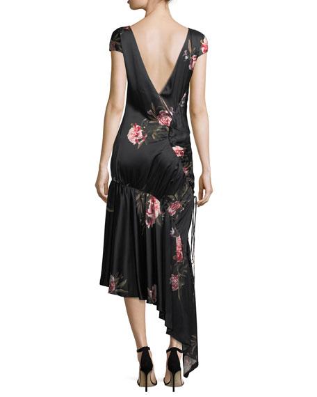 Huma Floral-Print Asymmetric Drawstring Satin Cocktail Dress